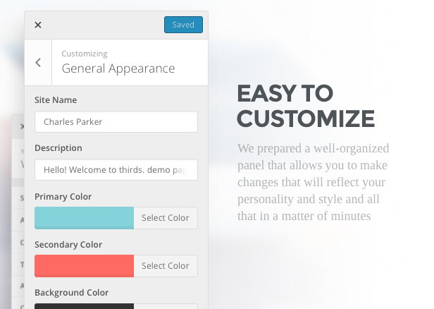 Easy to customize. We prepared a well-organized panel that allows you to make changes that will reflect your personality and style and all that in a matter of minutes
